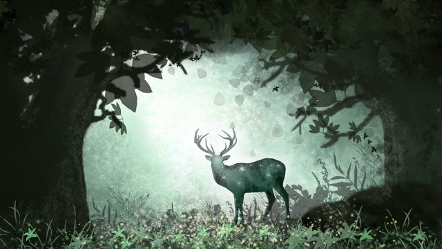 森と鹿の緑の森 イラスト素材