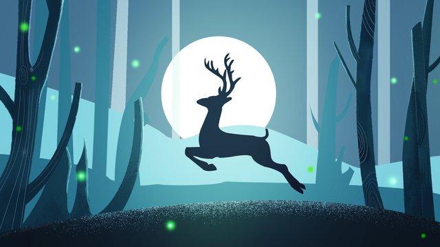 Original hand drawn illustration forest with deer, Forest, Deer, Night illustration image