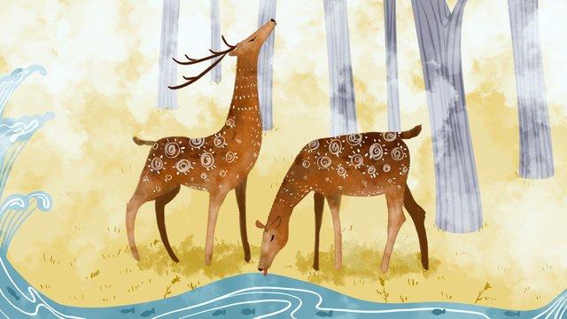floresta e cervo sika veados conto cura sistema ilustração Material de ilustração