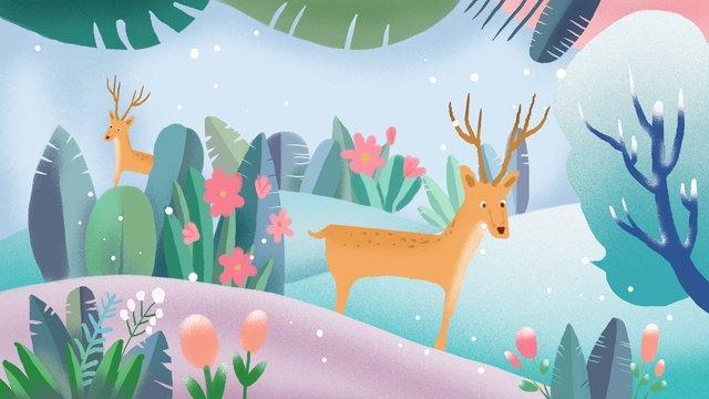 Forest and deer small fresh cure system illustration llustration image