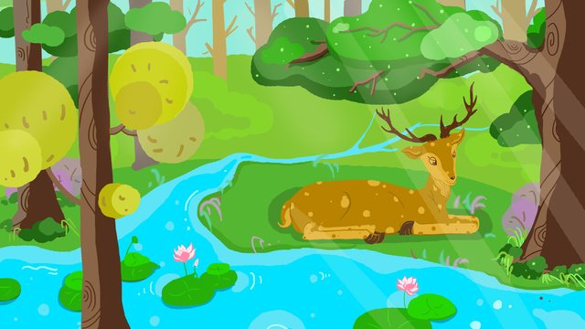 Lin shenjian deer original illustration, Forest, Deer, Small Fresh illustration image