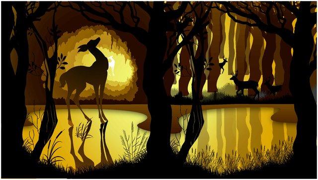 rừng bóng sáng tạo với hình minh họa hươu Hình minh họa