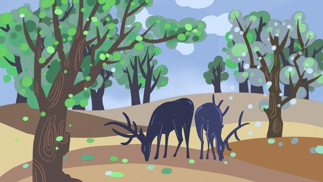 森と鹿の葉を食べる2つのアヒルの鹿の2つのイラスト森  鹿  二 PNGおよびPSD illustration image