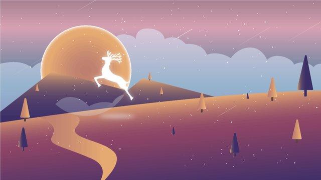 forest elk deep see deer romantic dream illustration llustration image