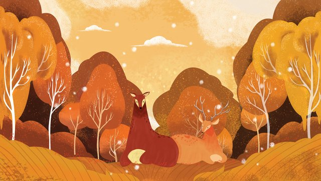 Forest and deer original illustration, Forest, Fall, Warm Color illustration image