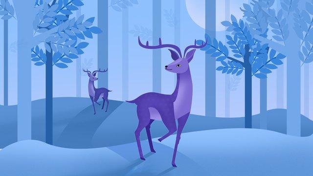 森の子鹿夜の風景月光ジャングル イラストレーション画像