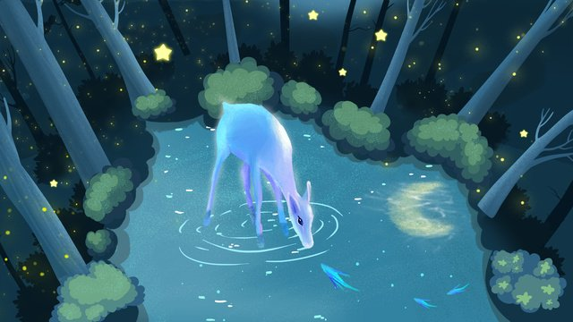 Forest deer creek drinking water illustration, Forest, Fawn, Night View illustration image