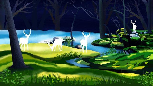Original hand drawn illustration forest with deer, Forest, Tree, Grassland illustration image