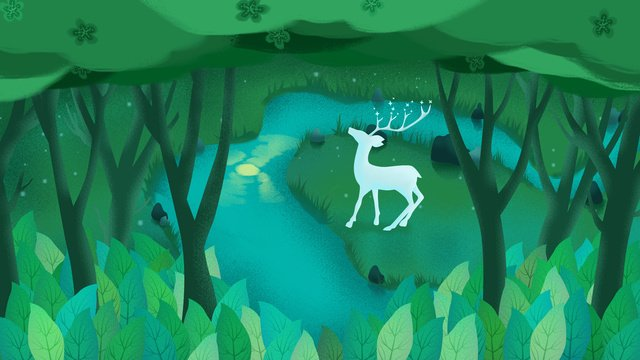 Original hand drawn illustration forest with deer, Forest, Tree, River illustration image