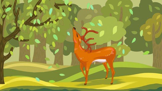 Illustration originale dun cerf regardant les feuilles dans la forêt image d'illustration