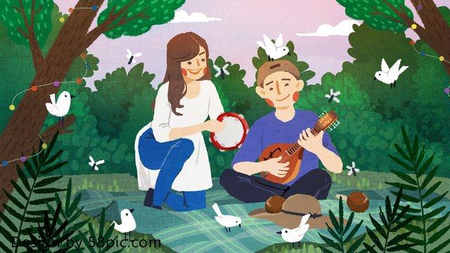 Forest music festival original petite illustration peinte à la main image d'illustration