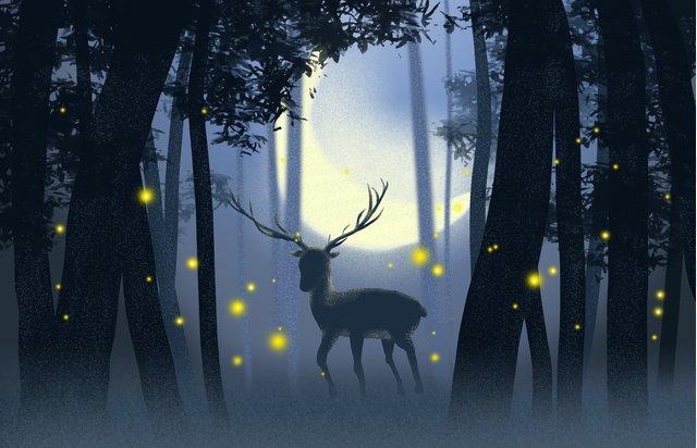 Lin shenjian deer healing system original illustration, Forest, Night, Elk illustration image