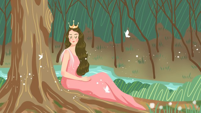 Forest princess and butterfly as a cure system illustration, Forest, Princess, Cure illustration image