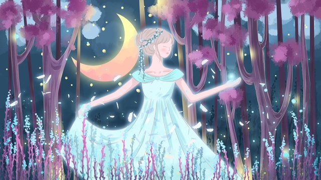 Healing illustrator forest princess, Forest Princess, Forest, Princess illustration image