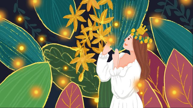 Forest princess forest Trees Leaves, Princess, Fluorescence, Luminous illustration image