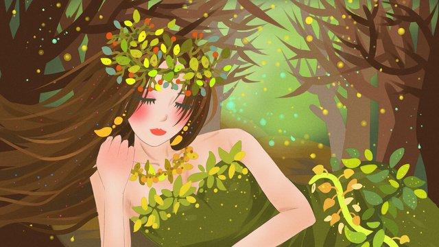 Forest princess green forest go to bed, Girl, Skirt, Leaves illustration image