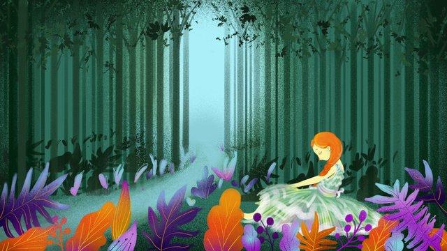 달콤하고 사랑스러운 공주님을 치유하는 치유의 숲 삽화 소재