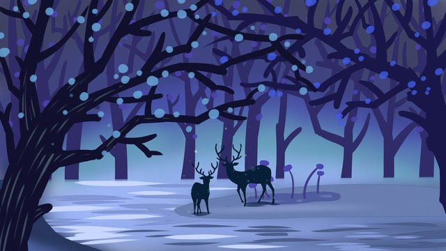 Original illustration of deer drinking water in the depths forest, Forest, River, Deer illustration image