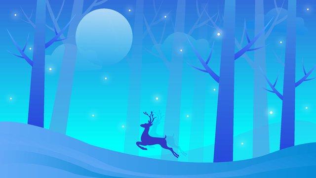 forest Running deer Little starlight moon, Brisk, Night Falls, Starlight illustration image