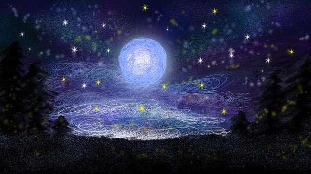 Vẽ tay bầu trời đầy sao mặt trăng chữa bệnh minh họaRừng  Bầu  Trời PNG Và PSD illustration image