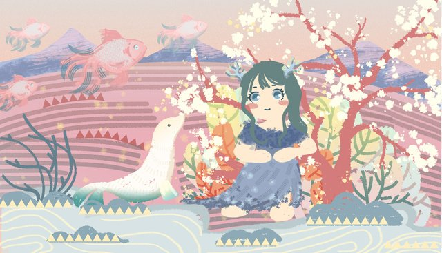Small fresh and beautiful dream riverside girl, Fresh, Beautiful, Dream illustration image