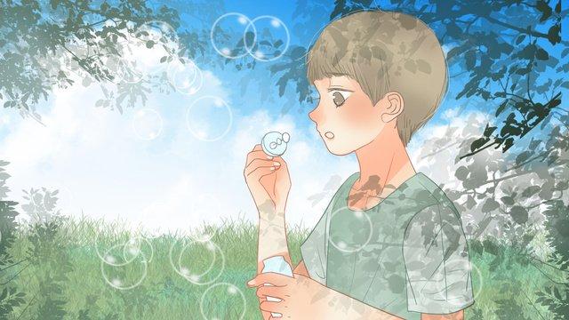 新鮮な夏に陰に泡を吹く子供 イラストレーション画像