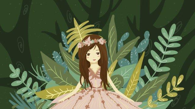 森姫夢緑少女オリジナルイラスト友達サークルマップ  モバイル壁紙  イラスト PNGおよびPSD illustration image
