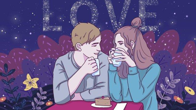 カップルの毎日ロマンチックな甘いコーヒーオリジナルイラスト イラスト素材 イラスト画像