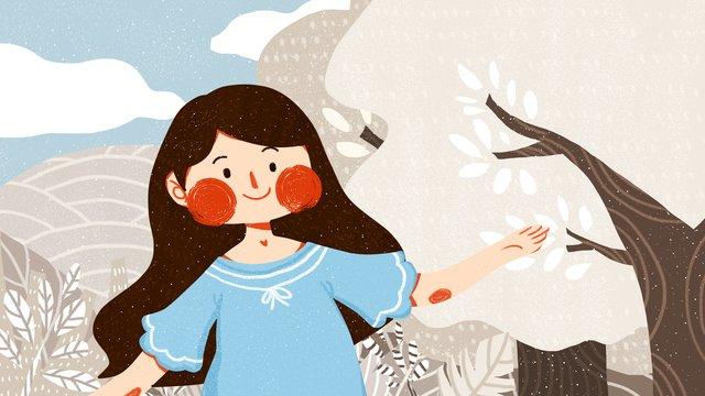 冷ややかな女の子かわいいシンプルなフラットオリジナルイラストフロストドロップ  10代の少女  ソーラー用語 PNGおよびPSD illustration image