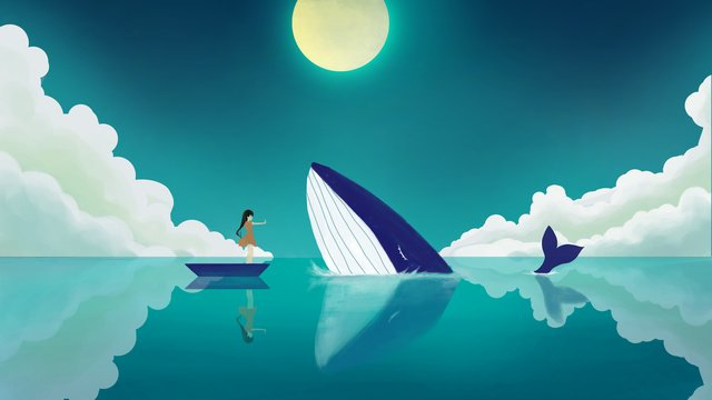 Simple fresh and beautiful healing wind whale girl illustration, Full Moon, Cloud, Night illustration image