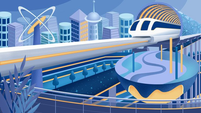 Original hand-painted illustration of the future urban high-speed rail city, Futuristic City, High-speed Rail, Motor Train illustration image