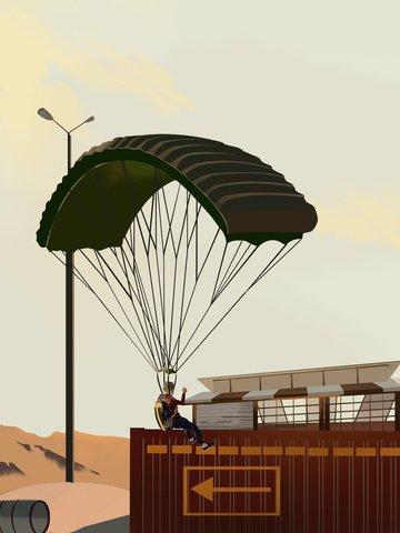Stimulating battlefield game illustration, Game, Illustration, Parachute illustration image