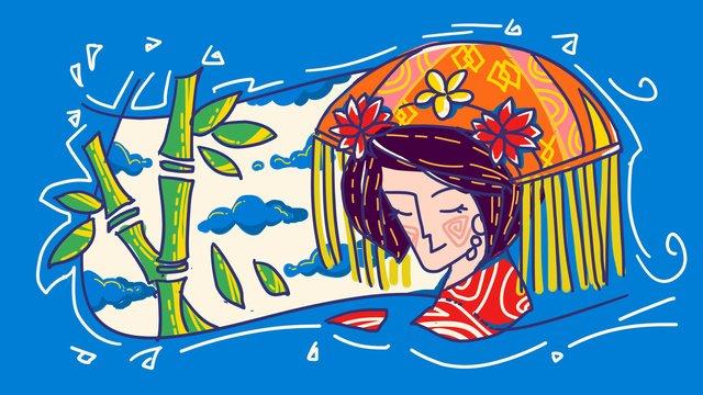 gaoshan राष्ट्रीयता विशेषताओं चीनी शैली लड़की लाइन मसौदा विपरीत रंग स्ट्रोक चित्रण चित्रण छवि चित्रण छवि
