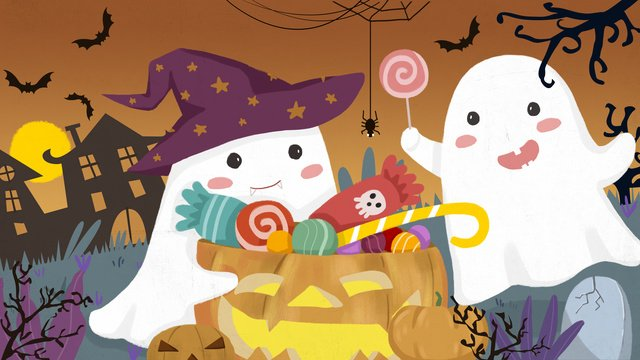 halloween carnival night dark castle moonlight cute ghost candy llustration image