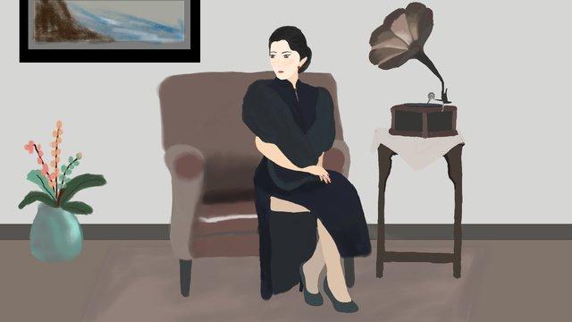 giant aristocratic cheongsam woman llustration image illustration image