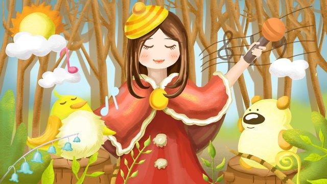 소녀와 동물 콘서트 삽화 소재 삽화 이미지