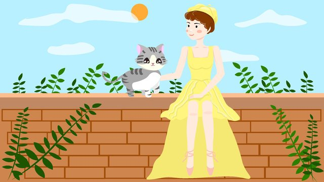 Cute girl with her cat illustration, Girl, Cat, Yellow illustration image