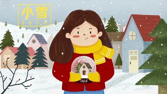 Fresh cold winter town outdoor snowing girl with crystal ball, Girl, Crystal Ball, Small Town illustration image