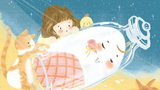 girl with drift bottle night starry beach original hand drawn illustration cure llustration image