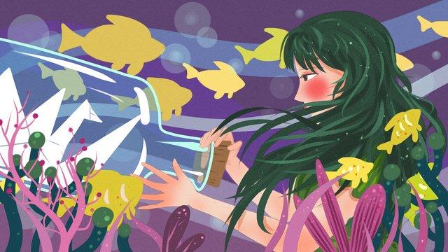 Девушка и дрейфующая бутылка с девочкой под морем рыбой Ресурсы иллюстрации