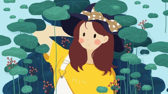 패션 소녀 안녕하세요 시리즈 원래 그림 삽화 소재