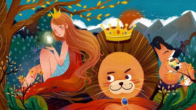 Fille lion animal forêt princesse verte dessin animé rouge fée illustrateur image d'illustration