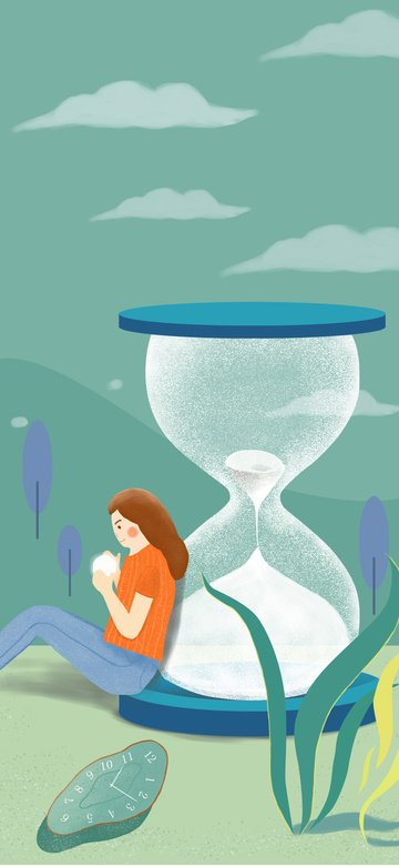 時間漏斗を持つ少女11月こんにちは元の手描きイラスト イラスト素材 イラスト画像