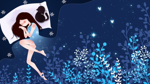 Лунатизм wonderland girl Спящая Исцеление Рисованной иллюстрации Ресурсы иллюстрации