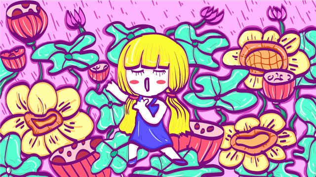 Cute summer girl in filigree illustration, Girl, Lovely, Pretty illustration image
