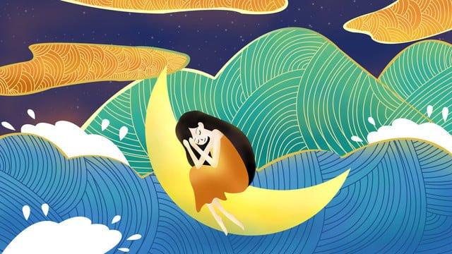 달 보트에있는 ambilight 소녀 삽화 소재 삽화 이미지