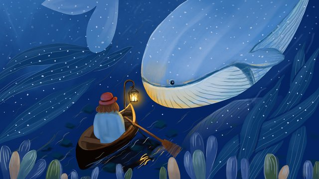 Deep sea whale, Girl, Painting, Illustration illustration image