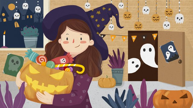 halloween decoration carnival night girl with pumpkin light ghost candy llustration image