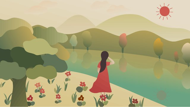 Girl walking by the river to nature saying good morning retro gradient illustration, Girl, Riverside, Morning Walk illustration image