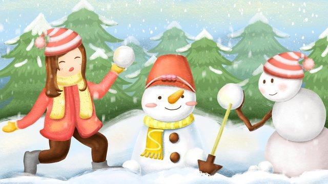 girl and snowman playing snowballs llustration image illustration image